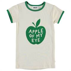 "Molo ""Rhiannon"" T-shirt med ""Apple of my eye"" i grøn og creme - øko"