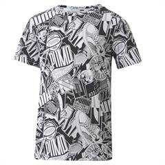 "Puma T-shirt med sort og hvid all-over-print ""Alpha AOP Tee"""