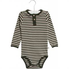 Wheat body med knapper - oliven/brun ♡ øko