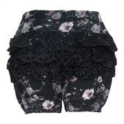 LITTLE WONDERS shorts Ella Bloomers med blonde numse i Black Flower Print