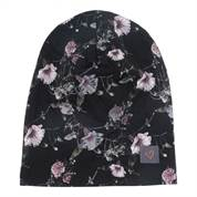 LITTLE WONDERS Anna beanie hue til børn i Black Flowerprint