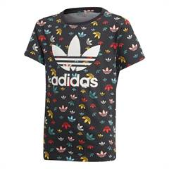 Adidas T-shirt i sort med multifarvet all-over logo print