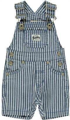 Lil' Atelier overalls shorts i blå stribet denim