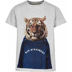 "The New gråmeleret ""Ove"" T-shirt med sjov tiger og teksten ""Kid president"""
