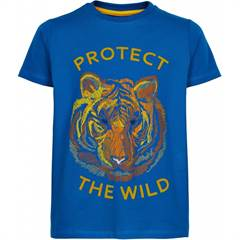 "The New T-shirt ★ Blå med tiger og ""Protect The Wild"" tekst med pels str. 98-164"