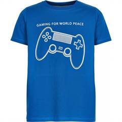 "The New T-shirt ★ Blå med controller og ""Gaming for World Peace"" ★ str. 98-164"