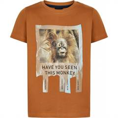 The New T-shirt med orangutang i varm brun - str. 98-164